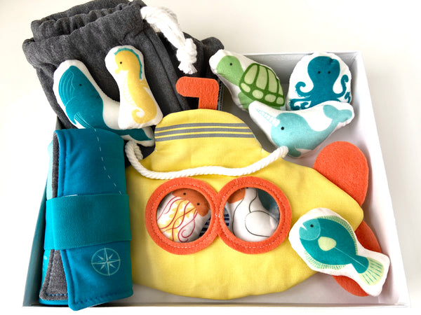 whale, turtle, jellyfish, and flounder plush set