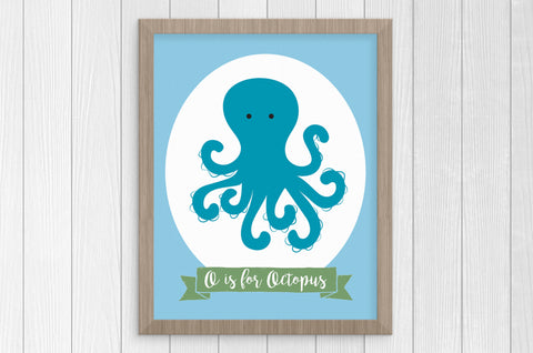 o is for octopus 8 x 10 print