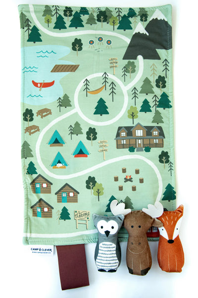 bundle: owl, moose, and fox plushes with play mat