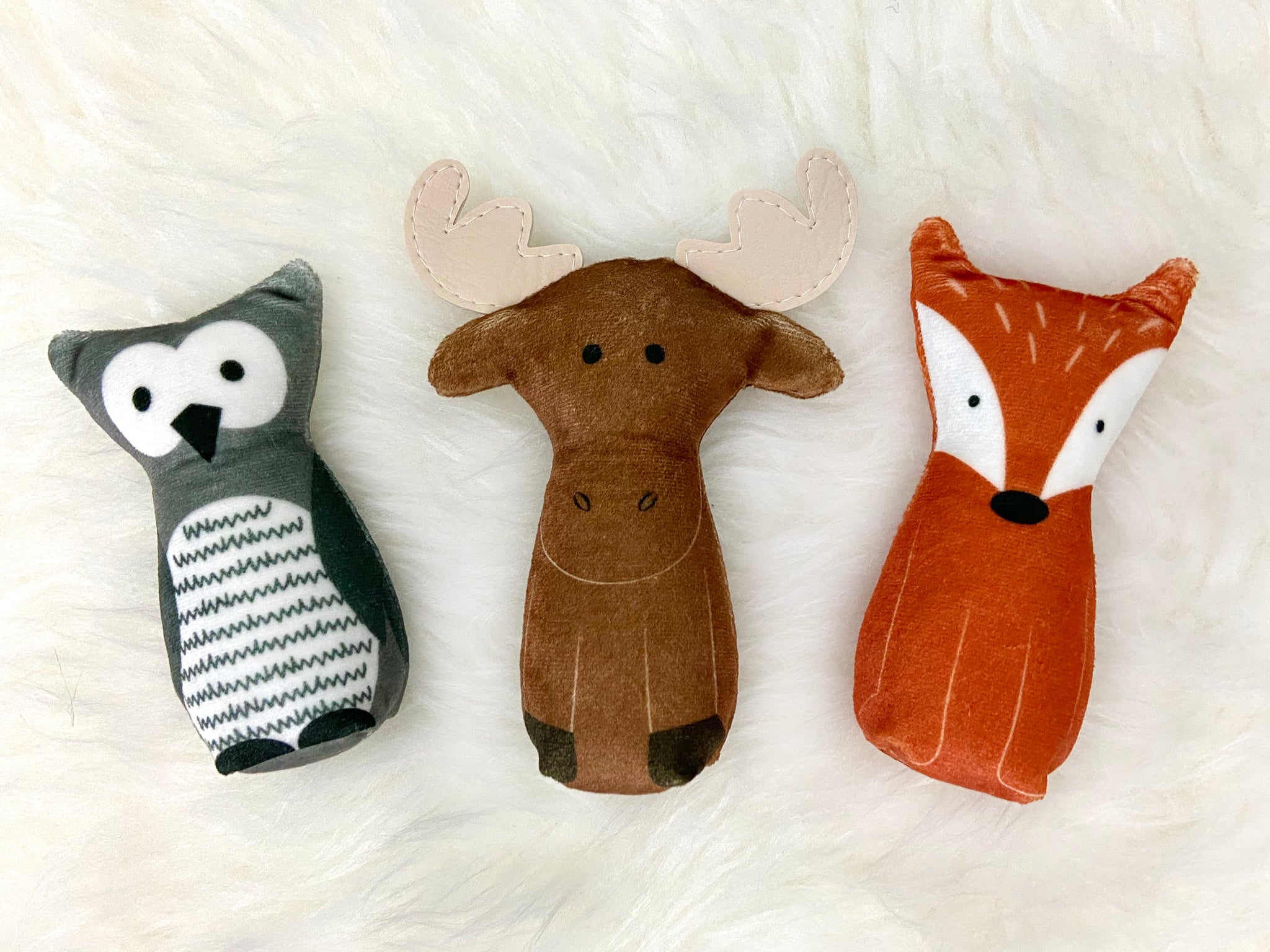 owl, moose and fox plush set