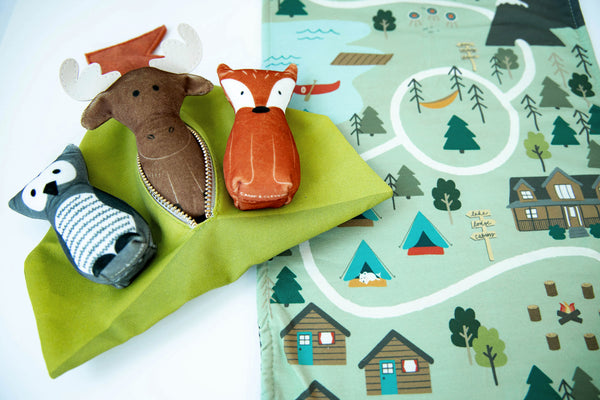 bundle: owl, moose, and fox plushes with tent and play mat set