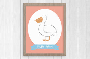 P is for Pelican 8 x 10 Print