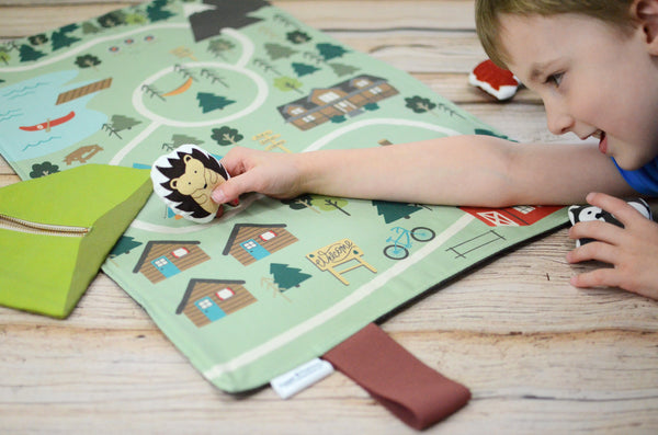 bundle: hedgehog, bear, and raccoon plushes with play mat