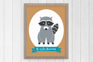 R is for Raccoon 8 x 10 Print