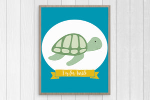 t is for turtle 8 x 10 print