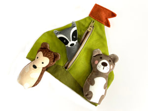 bundle: hedgehog, bear, and raccoon plushes with tent play set