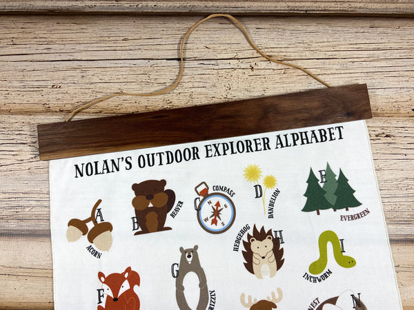 customized outdoor explorer alphabet wall art