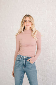 Ribbed Mock Neck Top in Blush