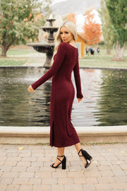 Berry Ribbed Midi Dress