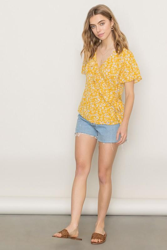 Junie Top in Yellow Floral