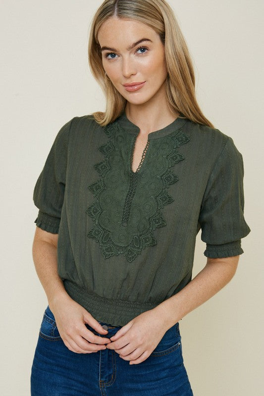 Olive Lace Blouse