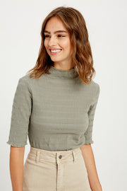 Dani Mock Neck Top in Sage