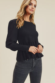 Olivia Smocked Peplum Top