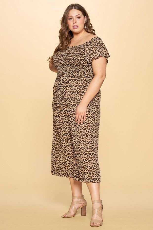 Reign Leopard Smocked Jumpsuit / Curvy