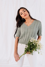 Gianna Knit Top in Dusty Mint