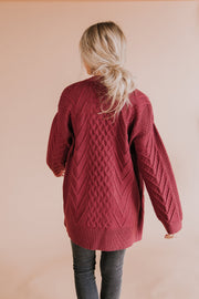 Naya Cable Knit Cardigan in Marsala