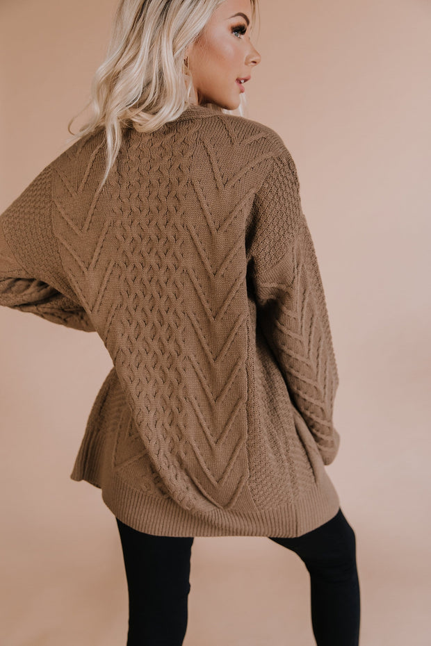 Naya Cable Knit Cardigan in Mocha