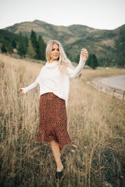 Rita Leopard Skirt in Brown