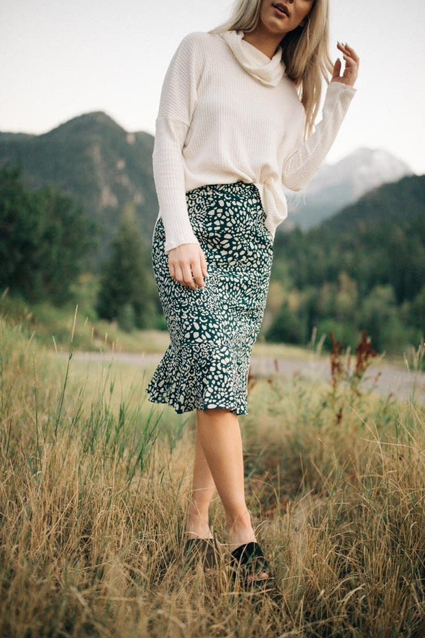 Rita Leopard Skirt in Hunter Green
