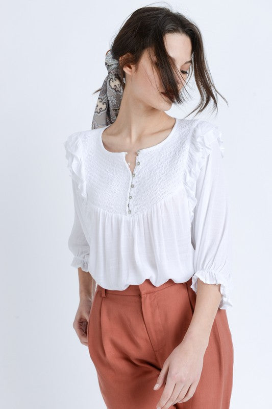Covey Ruffled Henley Blouse