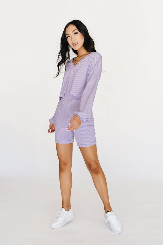 One Way Ticket Ribbed Set in Lavender