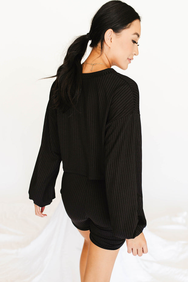 One Way Ticket Ribbed Set / Black