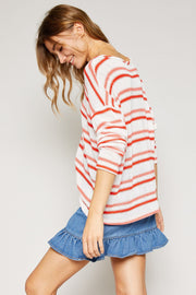 Pattie Coral Stripe Sweater