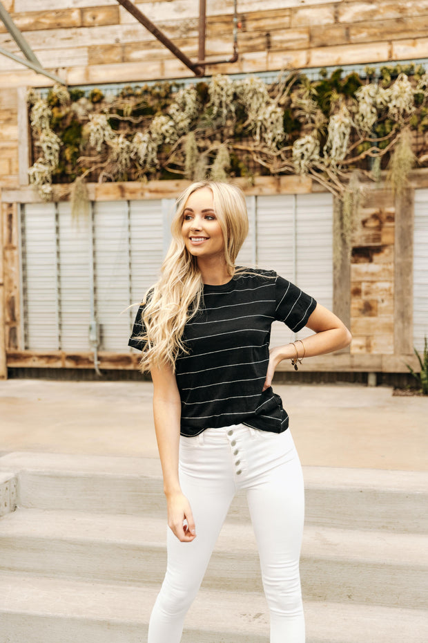 Nell Black Stripe Tee