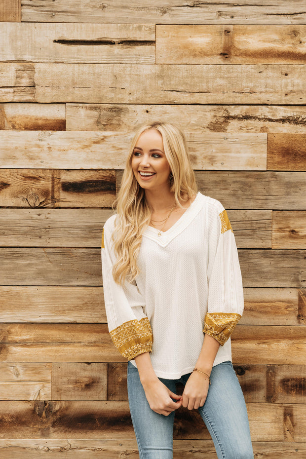 Veronica Contrast Sleeve Top