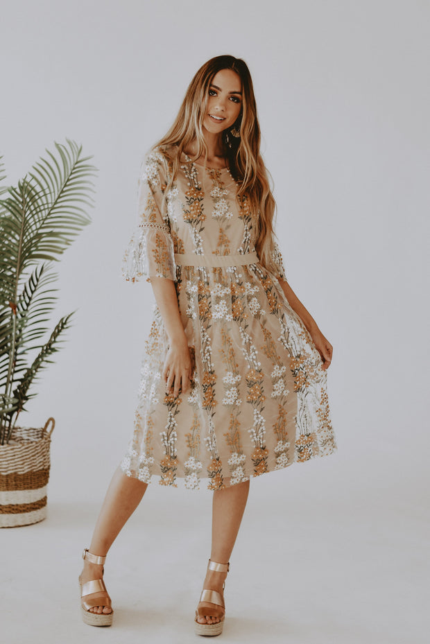 RESTOCK - Flora Embroidered Midi Dress