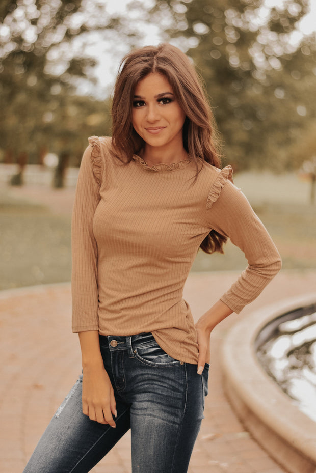RESTOCKED - Charmaine Top in Tan
