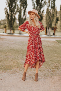 Madeline Floral Dress in Red