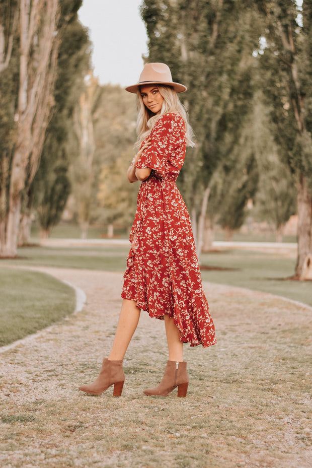 RESTOCK - Madeline Floral Dress in Red
