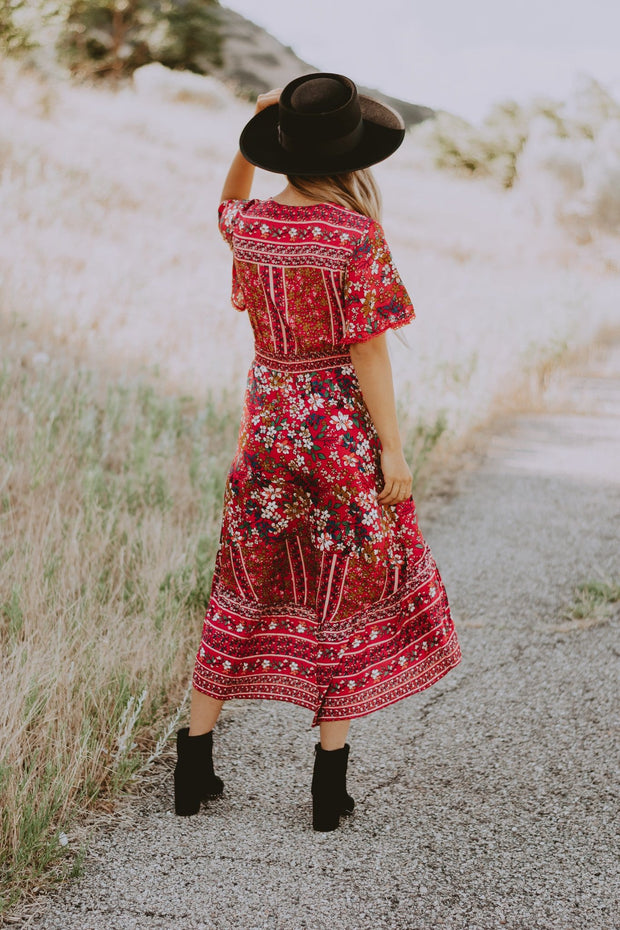 Giardino Midi Dress in Red