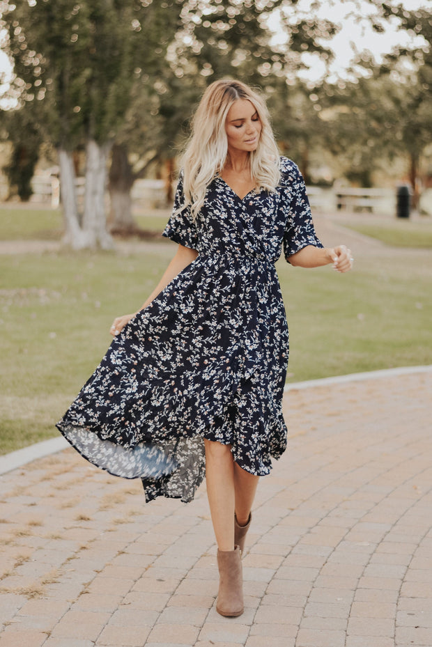 RESTOCK - Madeline Floral Dress in Navy