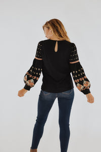 RESTOCKED - THML Black Embroidered Blouse