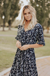 RESTOCKED - Madeline Floral Dress in Navy