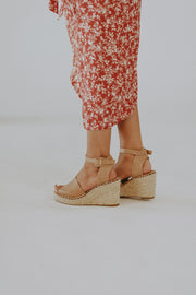Amara Espadrille Wedges in Tan