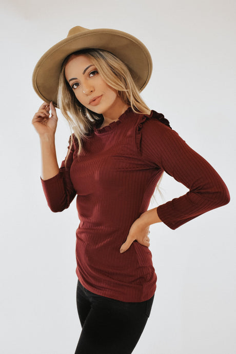 RESTOCKED - Charmaine Top in Wine
