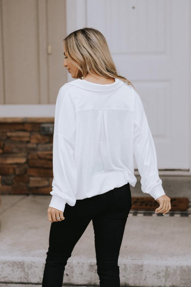 Frida Surplice Top in White