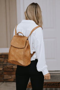 Silas Vegan Leather Backpack in Light Brown