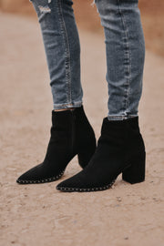 Franco Studded Suede Booties - RESTOCK
