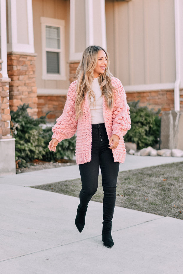 Sweetheart Pom Knit Cardigan in Light Pink