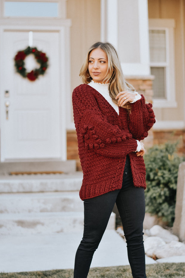 Sweetheart Pom Knit Cardigan in Burgundy