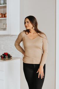 Chrissy Ribbed Sweater Top in Beige