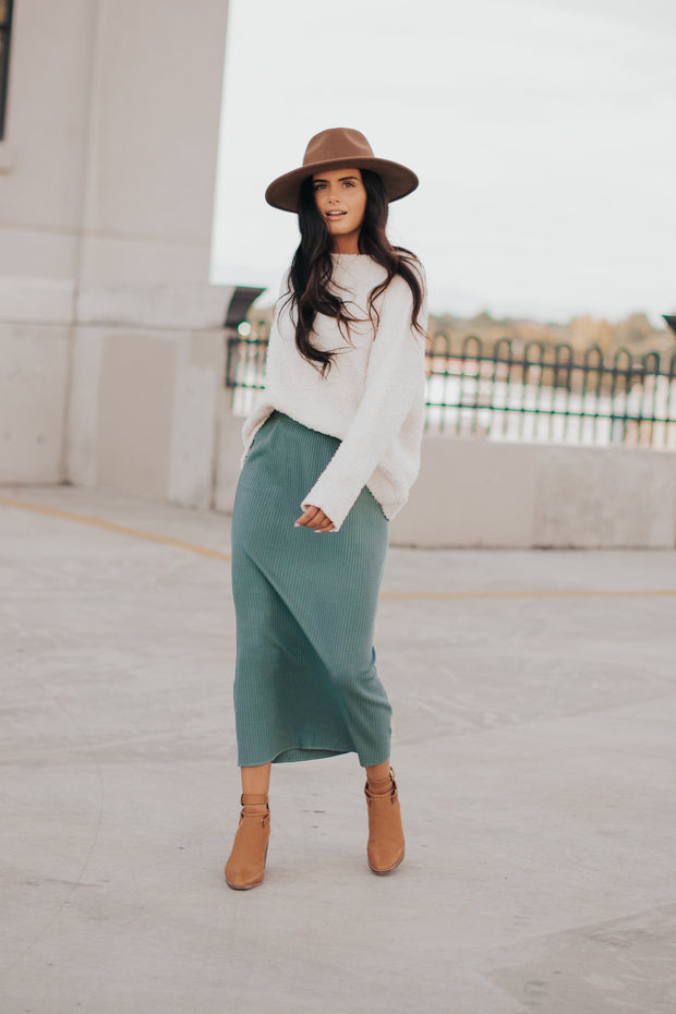 Willow Ribbed Midi Skirt