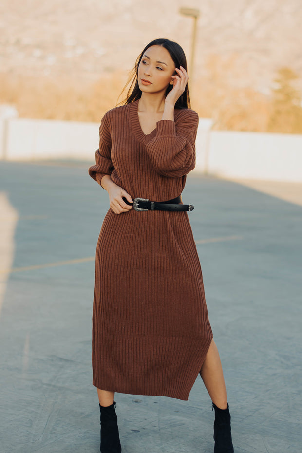 Clove Sweater Dress in Terra Cotta