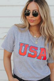 USA Tee in Gray
