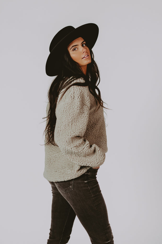 Lindon Sherpa Pullover in Grey