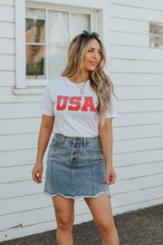 USA Tee in White
